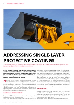 European Coatings 360° » ADDRESSING SINGLE-LAYER PROTECTIVE COATINGS