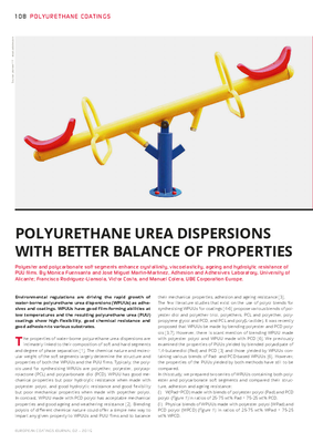 European Coatings 360° » POLYURETHANE UREA DISPERSIONS WITH BETTER BALANCE OF PROPERTIES