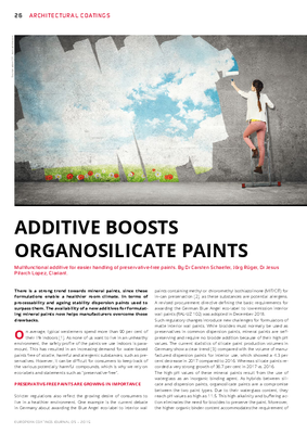 European Coatings 360° » ADDITIVE BOOSTS ORGANOSILICATE PAINTS