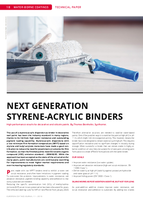 European Coatings 360° » NEXT GENERATION STYRENE-ACRYLIC BINDERS