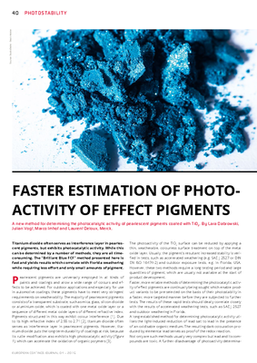 European Coatings 360° » FASTER ESTIMATION OF PHOTOACTIVITY OF EFFECT PIGMENTS